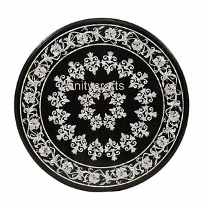 30 Inches Mother of Pearl Art Dinette Table Top Black Marble utility Table Top