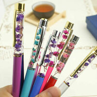 Metal Dried Flower Ballpoint Pen Stationery School Office Writing Supplies Gift