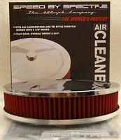 """SPECTRE PERFORMANCE CHROME AIR CLEANER ASSEMBLY RED FILTER 9"""" x 2"""" 47708 9x2"""