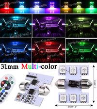 2PCS RGB LED Remote Festoon 16Colors Map/Dome Interior Light Bulbs 31MM DE3175