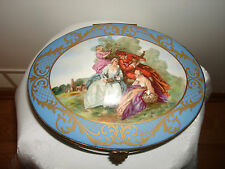 Vtg Huge Limoges France Hand Painted Chateau Des Songes Porcelaine Dresser Box