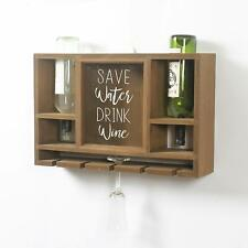 Modern Country Woodden Wall Wine Glass and Bottle Holder with Cork Collection
