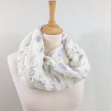 Womens's Mobius Winter Snood Scarf White Faux Fur Silver Foil Feather Metalic