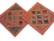 Orange Sari Kundan Cushions 2 Decorative Couch Bed Sofa Throw Indian Pillowcases