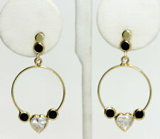 14k Gold Round Black Sapphire Heart Cubic Zirconia Circle Drop Dangle Earrings