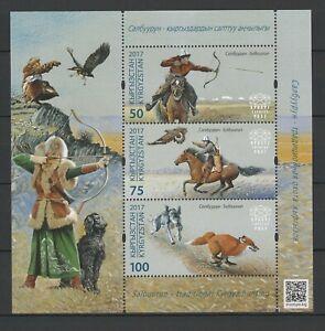 Kyrgyzstan 2017 Horses, Hunting MNH Block