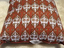 Z Gallerie Sevilla Handblock Beaded Orange & White Throw Pillow