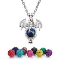 Aroma Öldiffusor Metal Fliegender Drache Medaillons Anhänger Silber Halskette