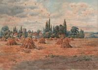 HAYSTACKS HARVEST LANDSCAPE Victorian Watercolour Painting 1896