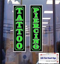 "2 LED Light Box Signs TATTOO & PIERCING 48""x12"" Window Signs"