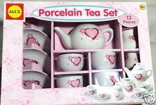 Girls Porcelain Tea Party Set Pink Red Hearts Flowers 13 pcs Serves 4 New 8+