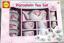 Girls Porcelain Tea Party Set Pink Red Hearts Flowers 13 pcs Serves 4 New 8+