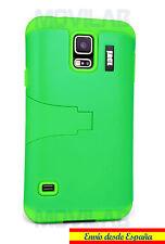 Funda Samsung G900 Galaxy S5 protectora / bumper con soporte verde