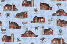 Fabric Barns Farm Animals Bountiful on Light Denim Blue Cotton by the 1/4 yard