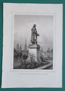 NORMANDY Rouen Statue of Pierre Corneille France - 1866 Antique Print Engraving