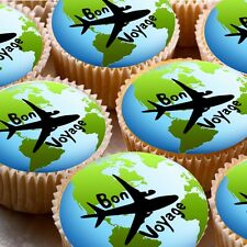 24 Edible cake toppers cupcake decorations Bon Voyage travelling moving abroad