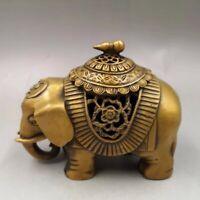 Old copper creates wealth fortunes Elephant incense burner Home decoration