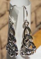 """Sterling Silver 925 Hook Earrings Claddagh Celtic Knot Irish Friendship 1"""" Drop"""
