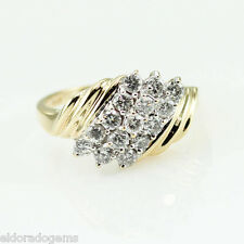 ART DECO COCKTAIL RING 1.50 CT. GENUINE DIAMOND 14K  WHITE YELLOW GOLD size 8.75