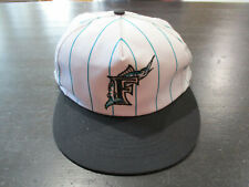 VINTAGE Florida Marlins Snap Back Hat Cap White Teal Pinstripe Baseball 90s A12