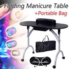 Rolling Foldable Manicure Table Nail Desk Salon Spa W/ Drawer & Pad & Bag Black
