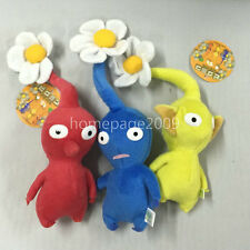 "NEW set of 3 Game Plush Pikmin Plush Red/Blue/Yellow Flower 8"" Stuffed plush"