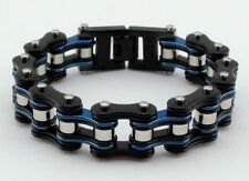 Mens Stainless Steel W Single Silver Rollers Biker Chain Bracelet Black/Blue