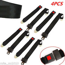 4Pcs 2 Point Retractable Adjustable Car Safety Seat Lap Belts Harness Kit Black