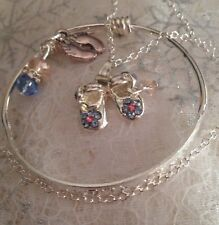Sterling Silver Baby Chain&925 Bangle With Feet&shoe Charm/boxed.