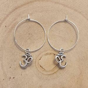 Om Symbol Hoop Earrings,Symbol,Spiritual,Goth,Gothic,Boho,Bohemian