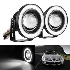 "2x White High Power 3.0"" Projector LED Fog Light COB Halo Angel Eye Ring For Car"