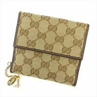 ad1ba5b3f11 Gucci Wallet Purse GG Beige Brown Canvas Leather Woman Authentic Used T8674