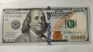 Federal Reserve 100 Dollars Uniq Serial Number Star Banknote PF00421421*