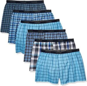 Hanes Men's Tagless Tartan Boxer with Exposed Waist Blue