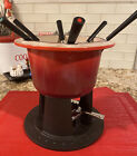 Le Creuset 2 QT RED Riveted Compact Table Top Fondue Cast Iron w/ Accessories