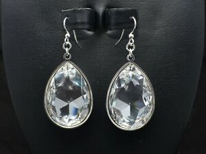 Large 30x20mm Faceted Pear Teardrop Crystal Earrings made with Swarovski