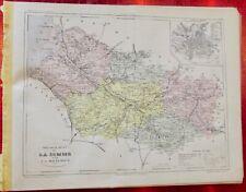 Old Map 1900 France Département la Somme Amiens Aulto Rosières Péronne Ailly