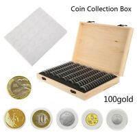 UK- Wooden Coins Display Storage Box Case for Collectible Coin With 100 Capsules
