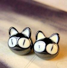 FD1072 Retro Lucky Sweet Black Cat Big Eyes Cat Head Earrings Studs Jewelry