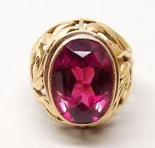 Vtg 14K Rose Gold Russian Ruby Ring Sz 7.5 Ornate USSR Soviet Ornate Filigree