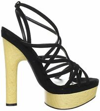 NIB BEBE 'Chrissy' black strappy PLATFORMS wooden heels shoes - SUPER HOT SZ 8.5