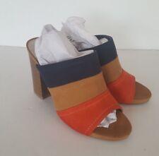 Women's A.N.A Roanoke Navy Tan Red Slip-on Open Toe High Heels, Size 5 M