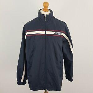 Reebok Mens Navy Blue Zip Up Vintage Windbreaker Jacket Fold Away Hood UK M