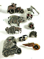 Lot (150+) vtg 1990s novelty Biker Skull motorcycle pin pinbacks GREAT!