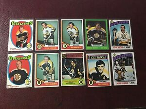 Vintage 1970's Topps & OPC Boston Bruins  Lot Hall of Famers Esposito Bucyk V.G