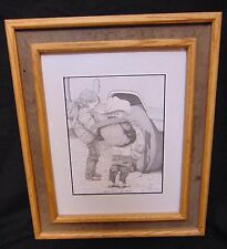 Vtg Country Western Art Barnwood Oak Framed Print Boys Will Be Boys Bernie Brown