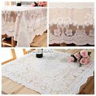 2Size Luxury White Square Lace Embroidered in HAND Tablecloth Square Table Coves