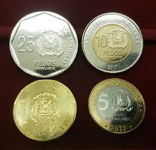 B-D-M República Dominicana Set 1 5 10 25 Pesos Dominicanos 2017 New SC UNC