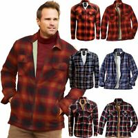 Mens Sherpa Fleece Lined Padded Shirt Lumberjack Work Flannel Jacket Warm S-5XL