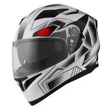 1Storm Motorcycle Full Face Dual Visor Helmet Inner Sun Visor Shield White